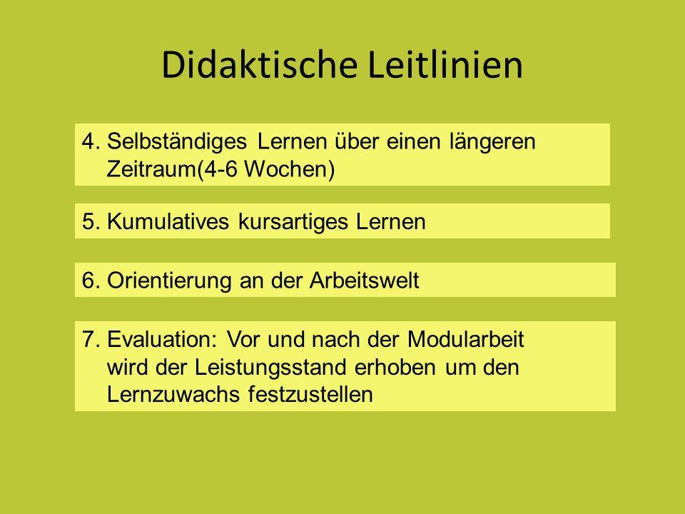 Didaktische Leitlinien 7. Evaluation: Vor und nach der Modularbeit wird der Leistungsstand erhoben um den Lernzuwachs festzustellen 4. Selbständiges L