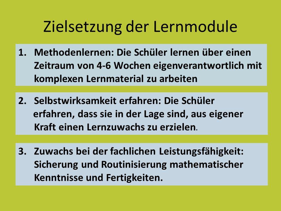 Zielsetzung der Lernmodule 1.Methodenlernen: Die Schüler lernen über einen Zeitraum von 4-6 Wochen eigenverantwortlich mit komplexen Lernmaterial zu a