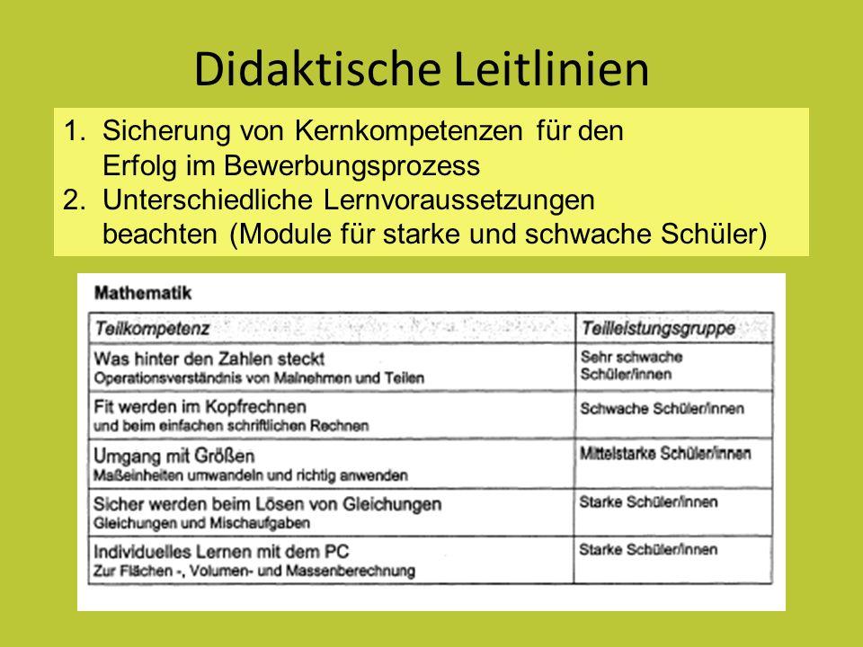 Didaktische Leitlinien 1. Sicherung von Kernkompetenzen für den Erfolg im Bewerbungsprozess 2. Unterschiedliche Lernvoraussetzungen beachten (Module f