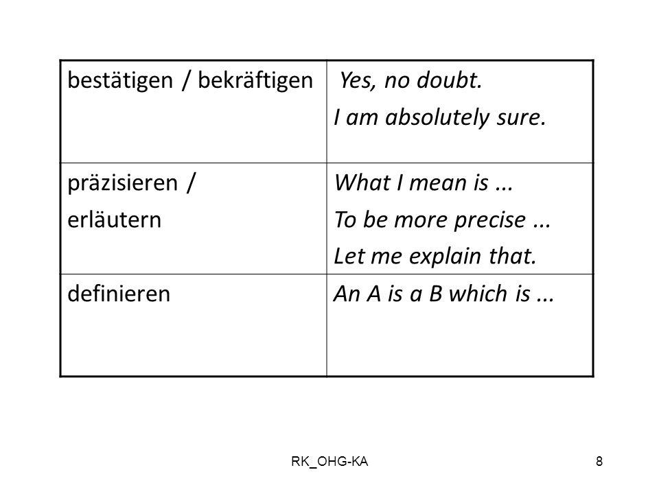 RK_OHG-KA8 bestätigen / bekräftigen Yes, no doubt. I am absolutely sure. präzisieren / erläutern What I mean is... To be more precise... Let me explai