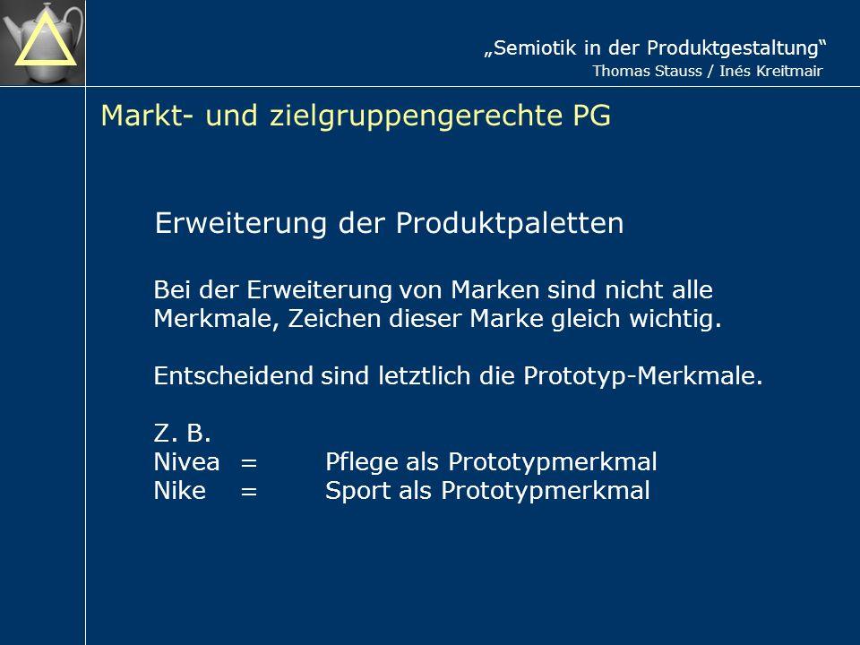 Semiotik in der Produktgestaltung Thomas Stauss / Inés Kreitmair Markt- und zielgruppengerechte PG Erweiterung der Produktpaletten Bei der Erweiterung von Marken sind nicht alle Merkmale, Zeichen dieser Marke gleich wichtig.