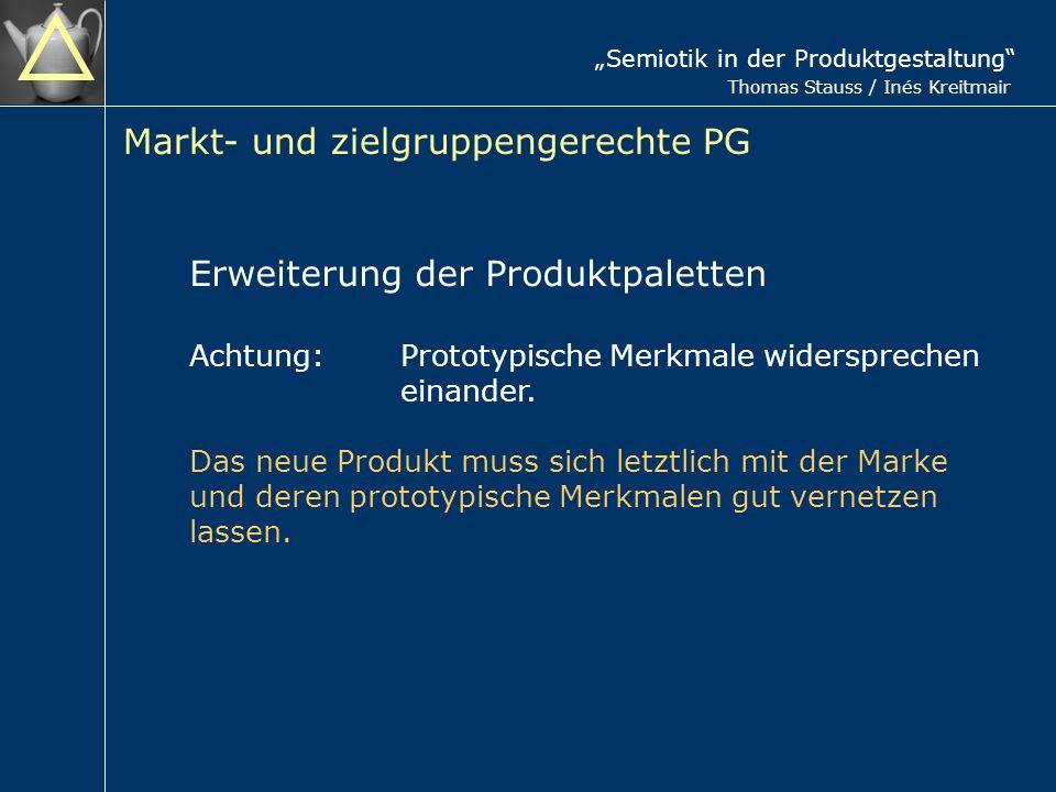 Semiotik in der Produktgestaltung Thomas Stauss / Inés Kreitmair Markt- und zielgruppengerechte PG Erweiterung der Produktpaletten Achtung:Prototypische Merkmale widersprechen einander.
