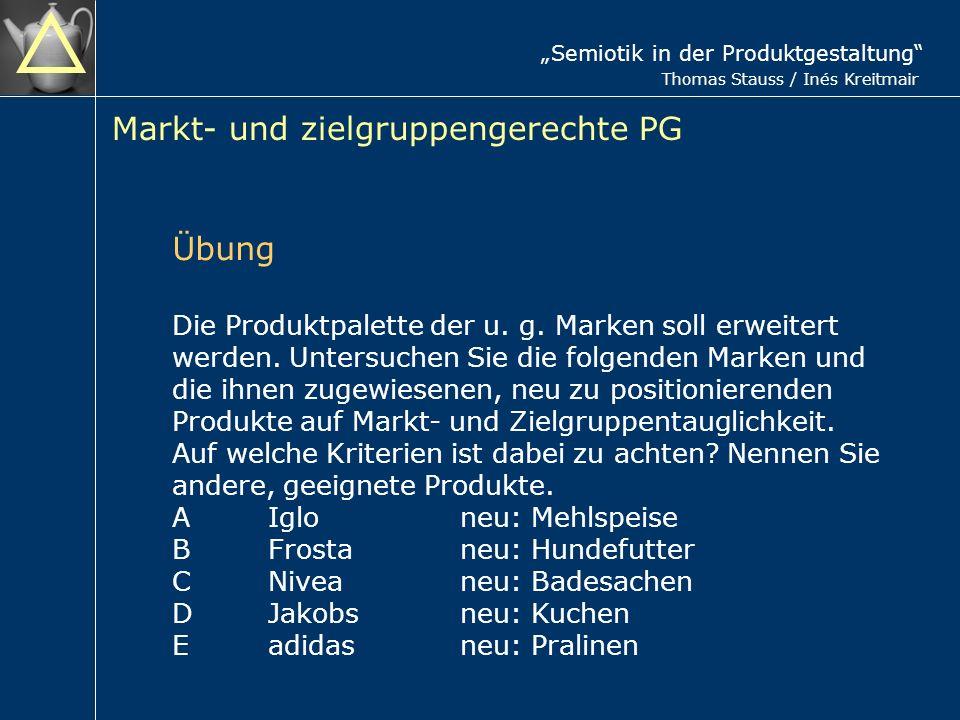 Semiotik in der Produktgestaltung Thomas Stauss / Inés Kreitmair Markt- und zielgruppengerechte PG Die Produktpalette der u.
