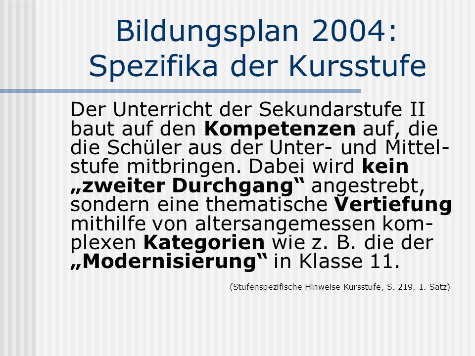 Bildungsplan 2004: Spezifika der Kursstufe Der Unterricht der Sekundarstufe II baut auf den Kompetenzen auf, die die Schüler aus der Unter- und Mittel- stufe mitbringen.