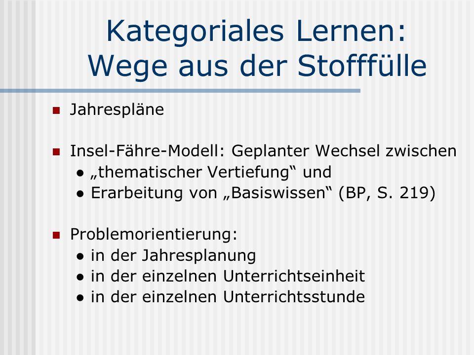 Kategoriales Lernen: Wege aus der Stofffülle Jahrespläne Insel-Fähre-Modell: Geplanter Wechsel zwischen thematischer Vertiefung und Erarbeitung von Basiswissen (BP, S.