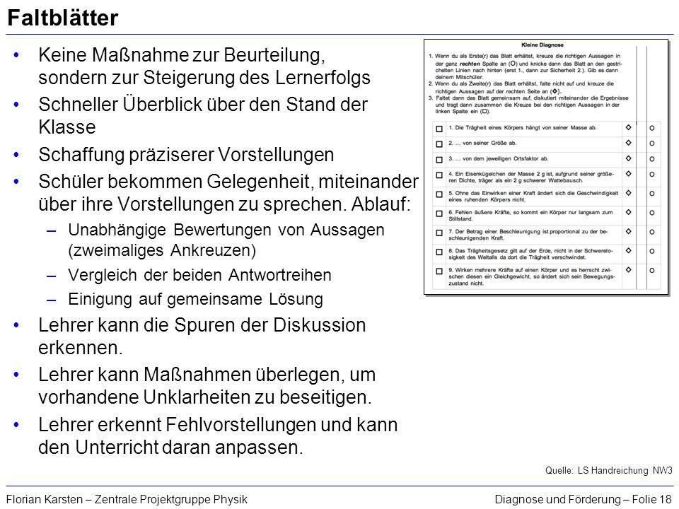 Diagnose und Förderung – Folie 18Florian Karsten – Zentrale Projektgruppe Physik Faltblätter Keine Maßnahme zur Beurteilung, sondern zur Steigerung de