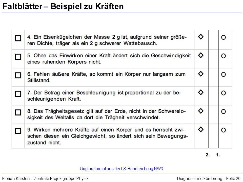 Diagnose und Förderung – Folie 20Florian Karsten – Zentrale Projektgruppe Physik Faltblätter – Beispiel zu Kräften Originalformat aus der LS-Handreich