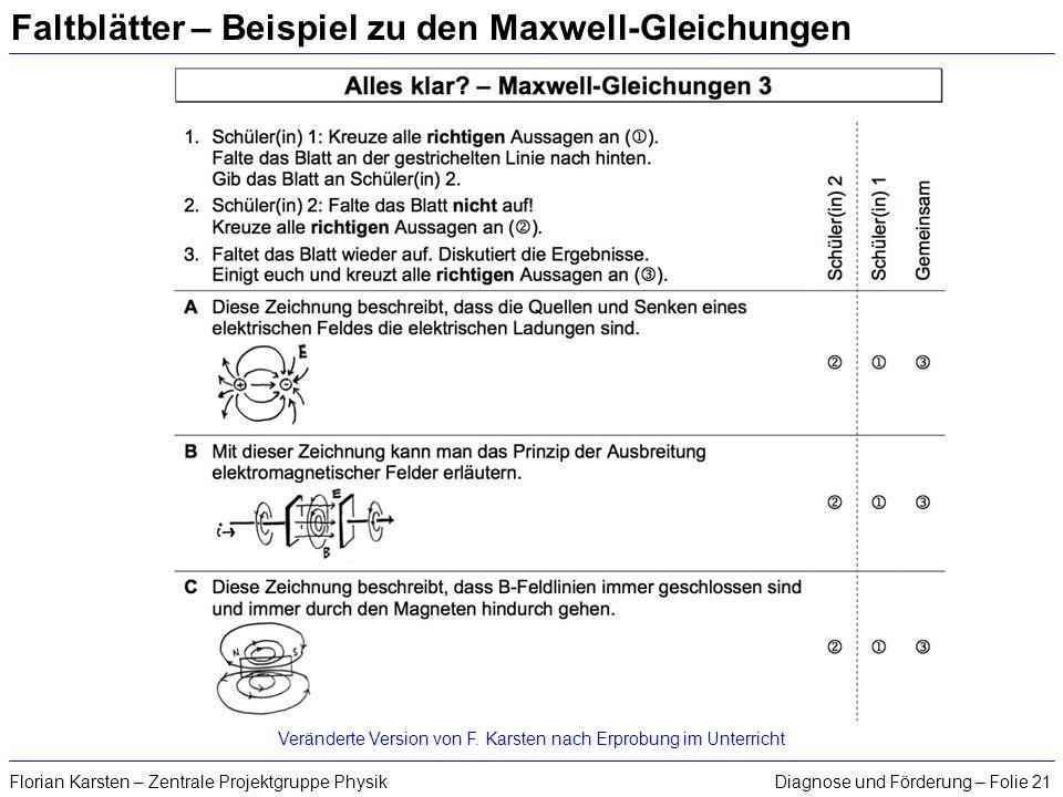 Diagnose und Förderung – Folie 21Florian Karsten – Zentrale Projektgruppe Physik Faltblätter – Beispiel zu den Maxwell-Gleichungen Veränderte Version