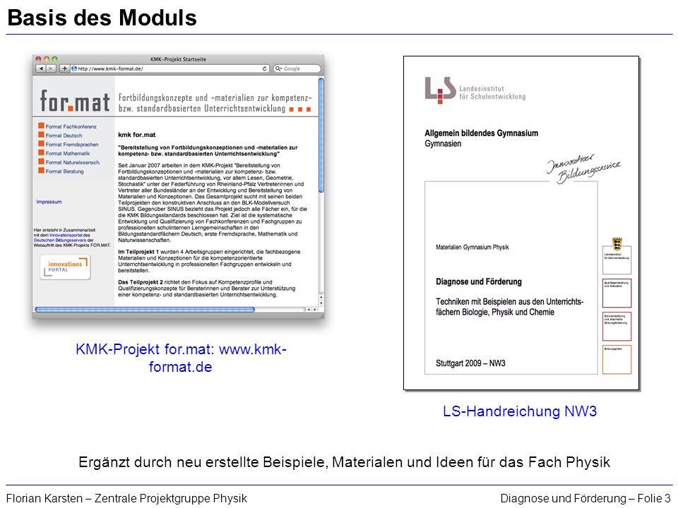 Diagnose und Förderung – Folie 3Florian Karsten – Zentrale Projektgruppe Physik Basis des Moduls KMK-Projekt for.mat: www.kmk- format.de LS-Handreichu