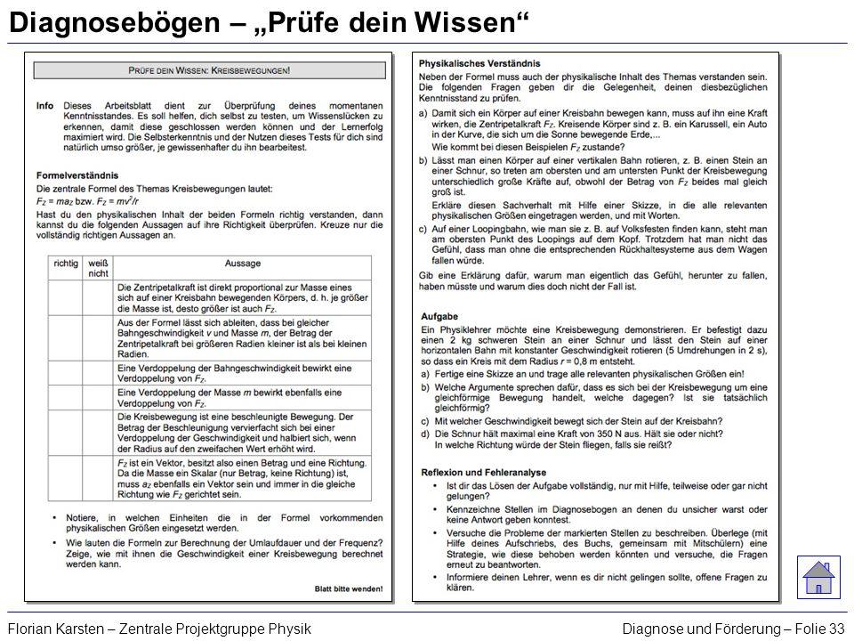 Diagnose und Förderung – Folie 33Florian Karsten – Zentrale Projektgruppe Physik Diagnosebögen – Prüfe dein Wissen