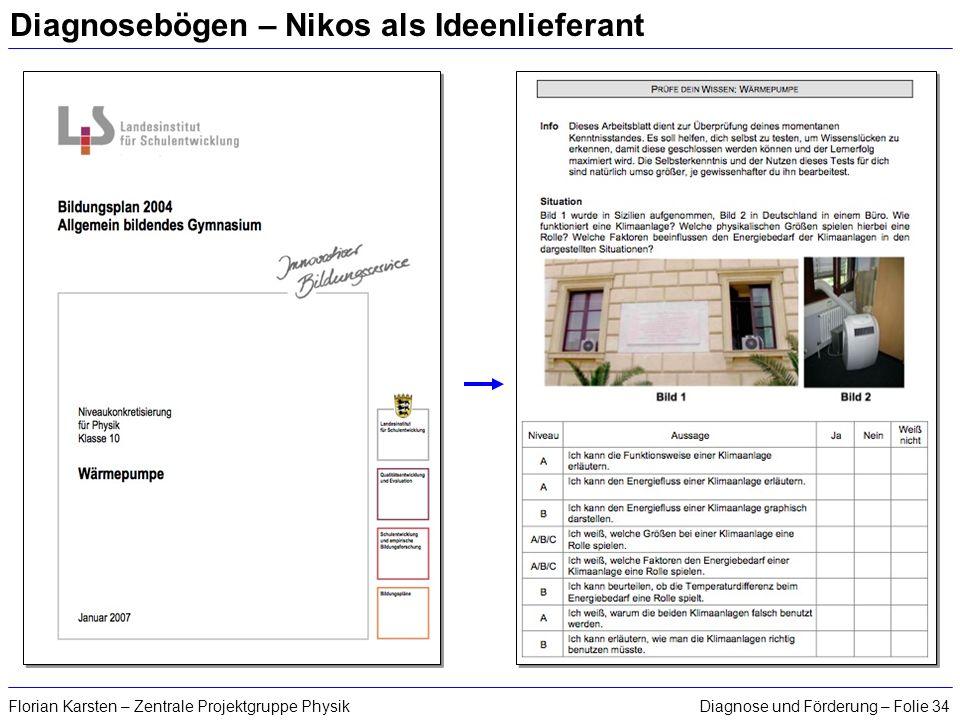 Diagnose und Förderung – Folie 34Florian Karsten – Zentrale Projektgruppe Physik Diagnosebögen – Nikos als Ideenlieferant
