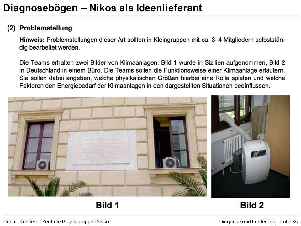 Diagnose und Förderung – Folie 35Florian Karsten – Zentrale Projektgruppe Physik Diagnosebögen – Nikos als Ideenlieferant