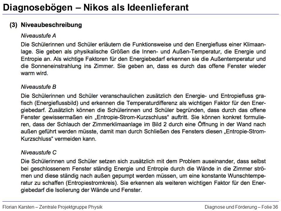 Diagnose und Förderung – Folie 36Florian Karsten – Zentrale Projektgruppe Physik Diagnosebögen – Nikos als Ideenlieferant