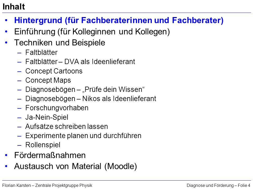 Diagnose und Förderung – Folie 4Florian Karsten – Zentrale Projektgruppe Physik Inhalt Hintergrund (für Fachberaterinnen und Fachberater) Einführung (