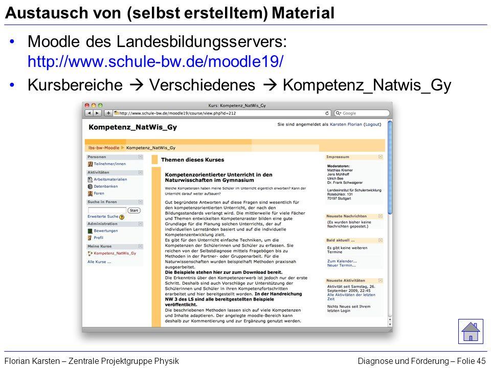 Diagnose und Förderung – Folie 45Florian Karsten – Zentrale Projektgruppe Physik Austausch von (selbst erstelltem) Material Moodle des Landesbildungss
