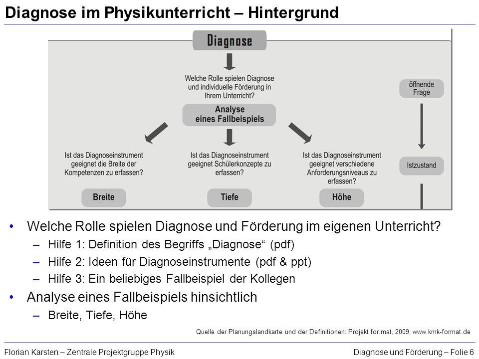 Diagnose und Förderung – Folie 6Florian Karsten – Zentrale Projektgruppe Physik Diagnose im Physikunterricht – Hintergrund Welche Rolle spielen Diagno
