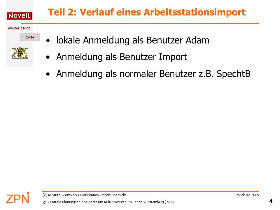 © Zentrale Planungsgruppe Netze am Kultusministerium Baden-Württemberg (ZPN) Musterlösung Stand: 02.2005 5 (c) M.Stütz - ZenWorks Workstation-Import Übersicht Teil 3: Was geschieht bei Änderungen.