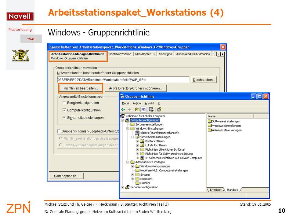 © Zentrale Planungsgruppe Netze am Kultusministerium Baden-Württemberg Musterlösung Stand: 19.01.2005 10 Michael Stütz und Th.