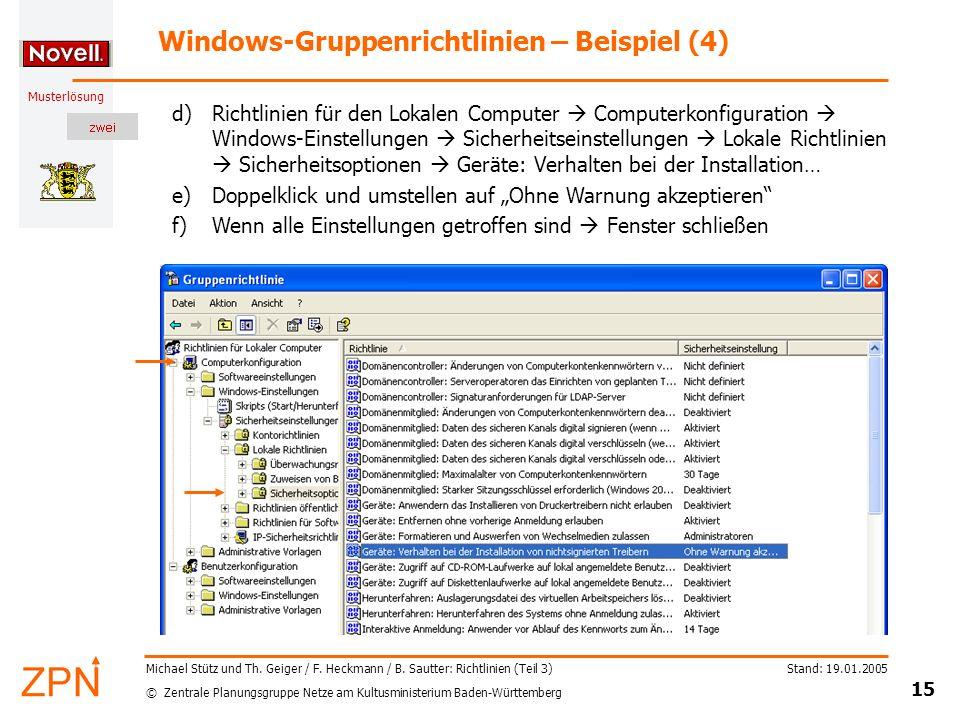 © Zentrale Planungsgruppe Netze am Kultusministerium Baden-Württemberg Musterlösung Stand: 19.01.2005 15 Michael Stütz und Th.