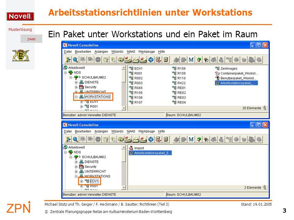 © Zentrale Planungsgruppe Netze am Kultusministerium Baden-Württemberg Musterlösung Stand: 19.01.2005 3 Michael Stütz und Th. Geiger / F. Heckmann / B