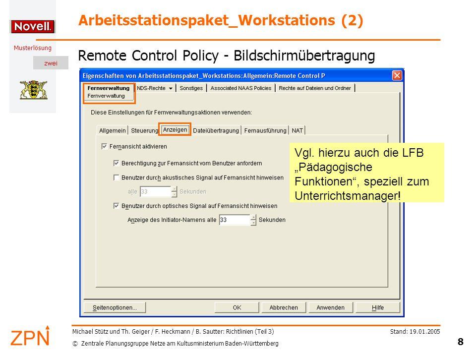 © Zentrale Planungsgruppe Netze am Kultusministerium Baden-Württemberg Musterlösung Stand: 19.01.2005 9 Michael Stütz und Th.