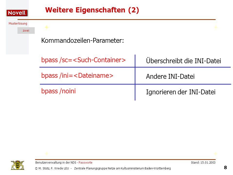 © M. Stütz, F. Wrede LEU - Zentrale Planungsgruppe Netze am Kultusministerium Baden-Württemberg Musterlösung zwei Stand: 15.01.2003 8 Benutzerverwaltu