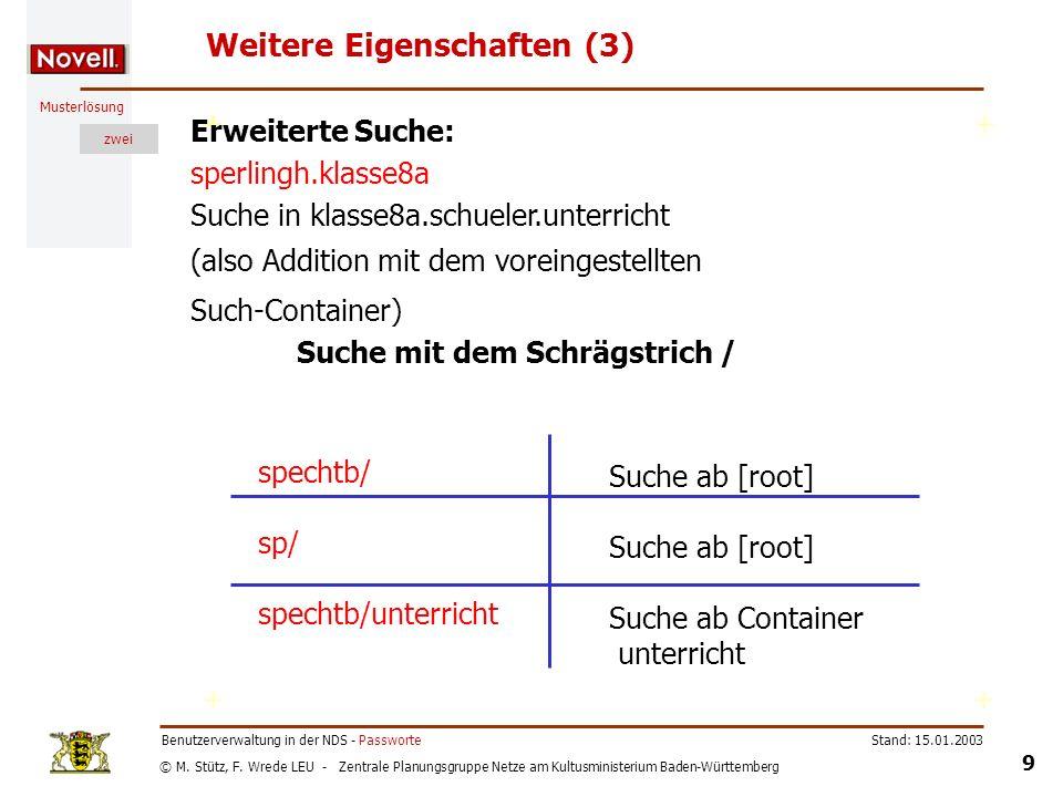 © M. Stütz, F. Wrede LEU - Zentrale Planungsgruppe Netze am Kultusministerium Baden-Württemberg Musterlösung zwei Stand: 15.01.2003 9 Benutzerverwaltu
