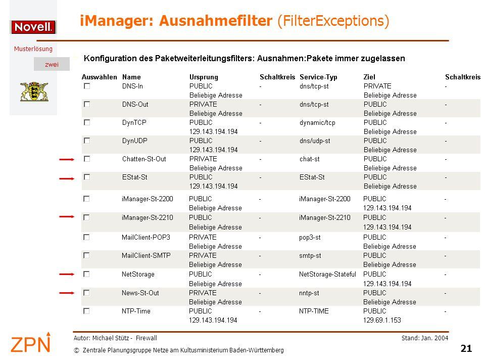 © Zentrale Planungsgruppe Netze am Kultusministerium Baden-Württemberg Musterlösung Stand: Jan. 2004 21 Autor: Michael Stütz - Firewall iManager: Ausn