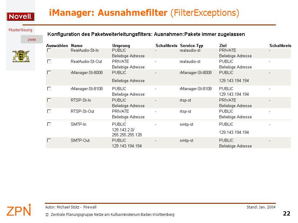 © Zentrale Planungsgruppe Netze am Kultusministerium Baden-Württemberg Musterlösung Stand: Jan. 2004 22 Autor: Michael Stütz - Firewall iManager: Ausn