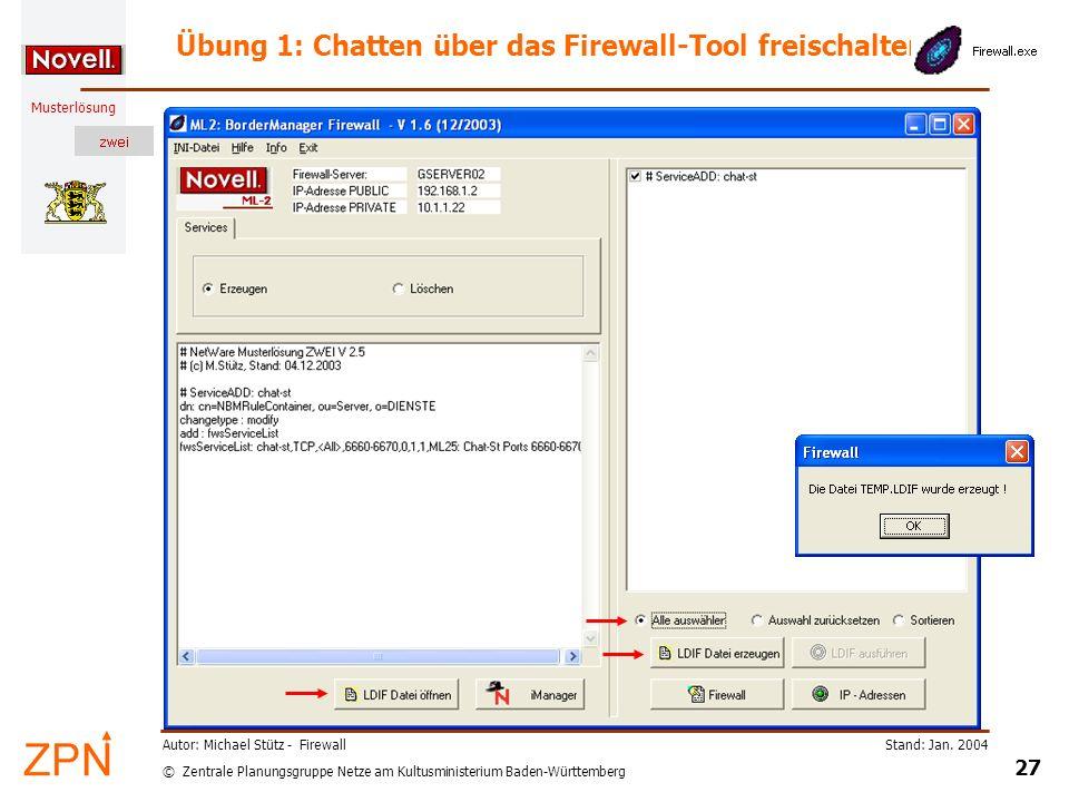 © Zentrale Planungsgruppe Netze am Kultusministerium Baden-Württemberg Musterlösung Stand: Jan. 2004 27 Autor: Michael Stütz - Firewall Übung 1: Chatt