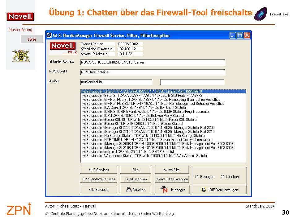 © Zentrale Planungsgruppe Netze am Kultusministerium Baden-Württemberg Musterlösung Stand: Jan. 2004 30 Autor: Michael Stütz - Firewall Übung 1: Chatt