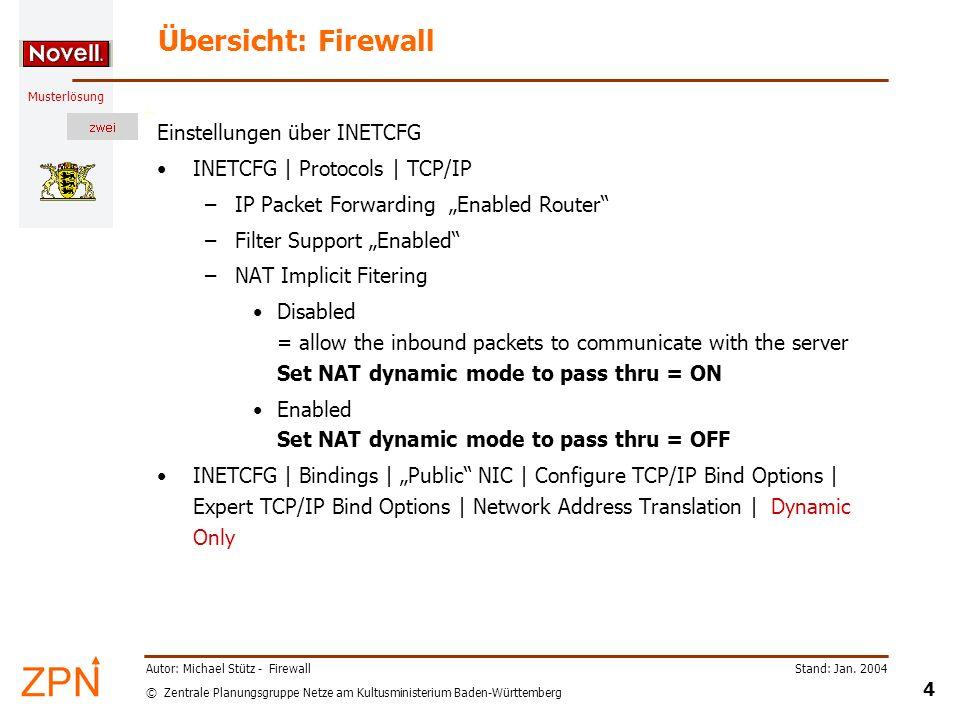 © Zentrale Planungsgruppe Netze am Kultusministerium Baden-Württemberg Musterlösung Stand: Jan. 2004 4 Autor: Michael Stütz - Firewall Übersicht: Fire