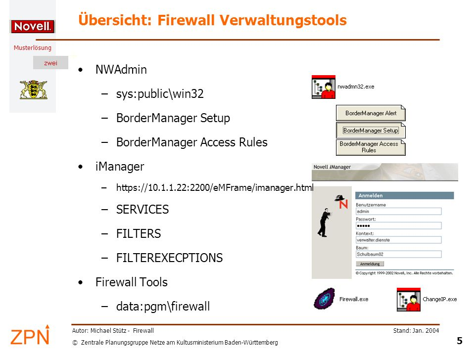 © Zentrale Planungsgruppe Netze am Kultusministerium Baden-Württemberg Musterlösung Stand: Jan. 2004 5 Autor: Michael Stütz - Firewall Übersicht: Fire