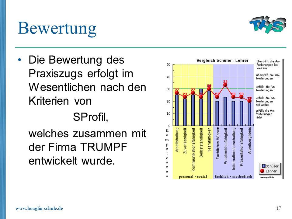 www.heuglin-schule.de 17 Bewertung Die Bewertung des Praxiszugs erfolgt im Wesentlichen nach den Kriterien von SProfil, welches zusammen mit der Firma TRUMPF entwickelt wurde.