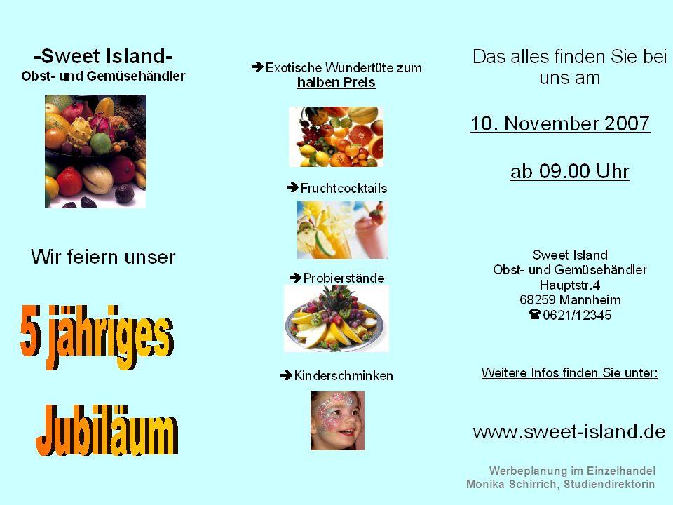 Werbeplanung im Einzelhandel Monika Schirrich, Studiendirektorin Gemüse Flyer 1