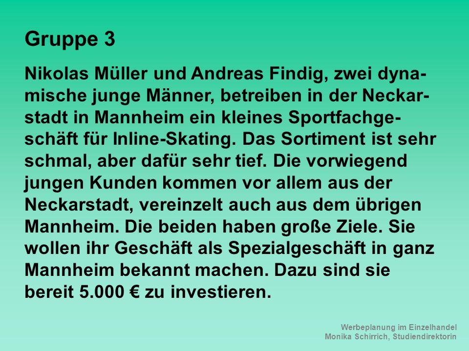 Werbeplanung im Einzelhandel Monika Schirrich, Studiendirektorin Inline-Skating Gruppe 3 Nikolas Müller und Andreas Findig, zwei dyna- mische junge Mä