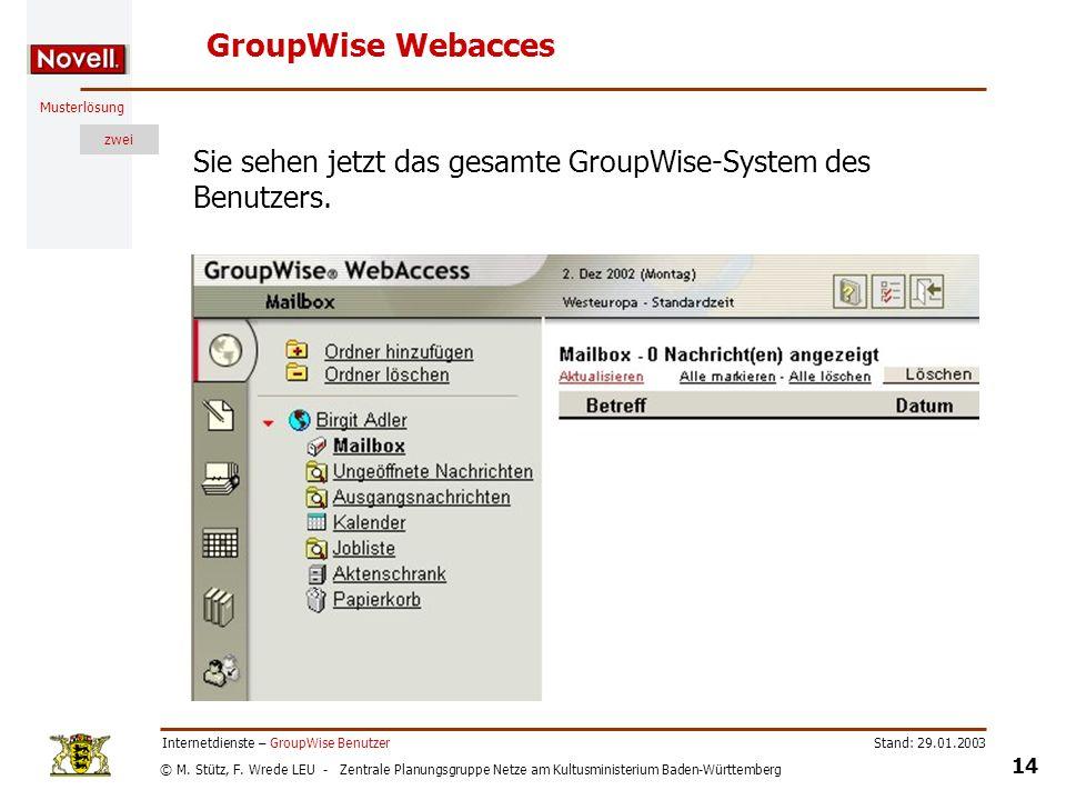 © M. Stütz, F. Wrede LEU - Zentrale Planungsgruppe Netze am Kultusministerium Baden-Württemberg Musterlösung zwei Stand: 29.01.2003 14 Internetdienste
