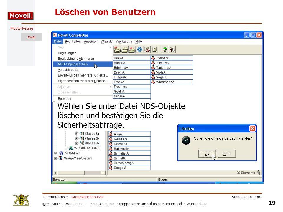 © M. Stütz, F. Wrede LEU - Zentrale Planungsgruppe Netze am Kultusministerium Baden-Württemberg Musterlösung zwei Stand: 29.01.2003 19 Internetdienste