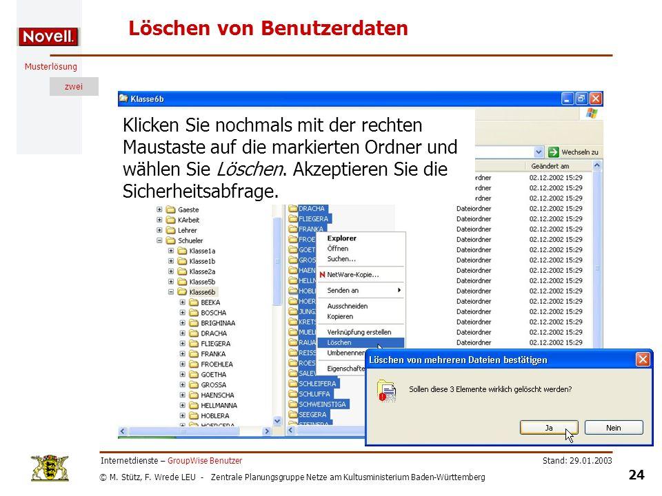 © M. Stütz, F. Wrede LEU - Zentrale Planungsgruppe Netze am Kultusministerium Baden-Württemberg Musterlösung zwei Stand: 29.01.2003 24 Internetdienste