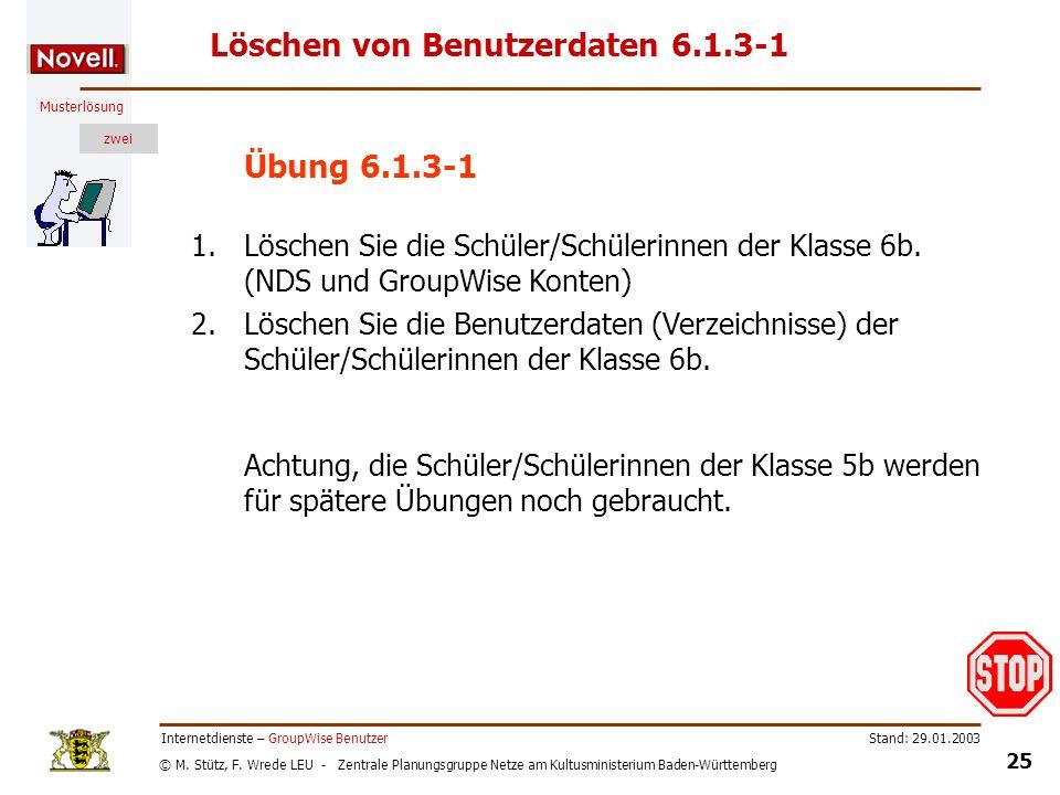 © M. Stütz, F. Wrede LEU - Zentrale Planungsgruppe Netze am Kultusministerium Baden-Württemberg Musterlösung zwei Stand: 29.01.2003 25 Internetdienste