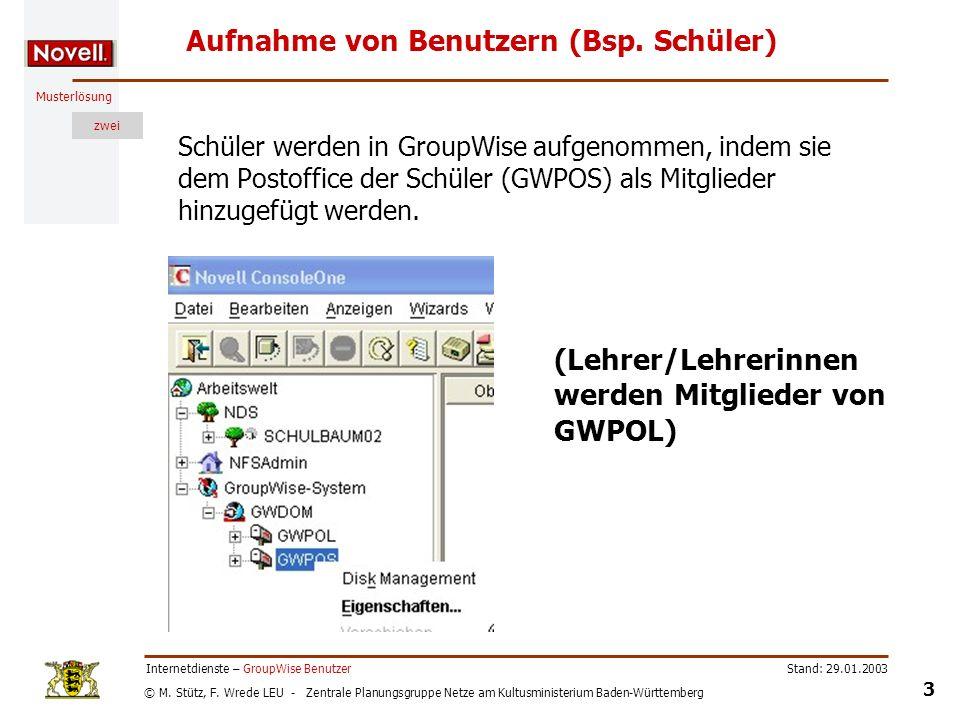 © M. Stütz, F. Wrede LEU - Zentrale Planungsgruppe Netze am Kultusministerium Baden-Württemberg Musterlösung zwei Stand: 29.01.2003 3 Internetdienste
