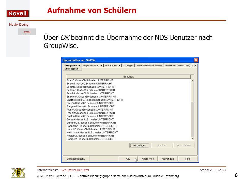 © M. Stütz, F. Wrede LEU - Zentrale Planungsgruppe Netze am Kultusministerium Baden-Württemberg Musterlösung zwei Stand: 29.01.2003 6 Internetdienste