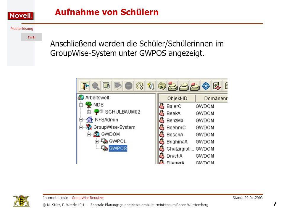 © M. Stütz, F. Wrede LEU - Zentrale Planungsgruppe Netze am Kultusministerium Baden-Württemberg Musterlösung zwei Stand: 29.01.2003 7 Internetdienste