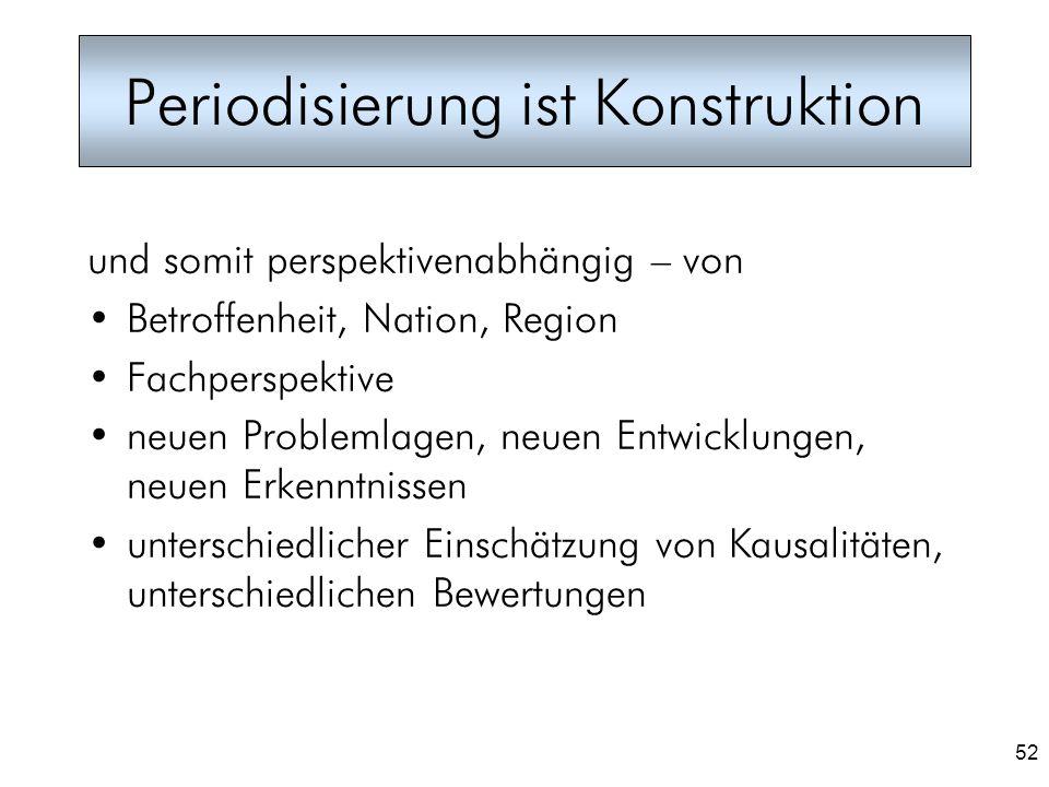 52 Periodisierung ist Konstruktion und somit perspektivenabhängig – von Betroffenheit, Nation, Region Fachperspektive neuen Problemlagen, neuen Entwic