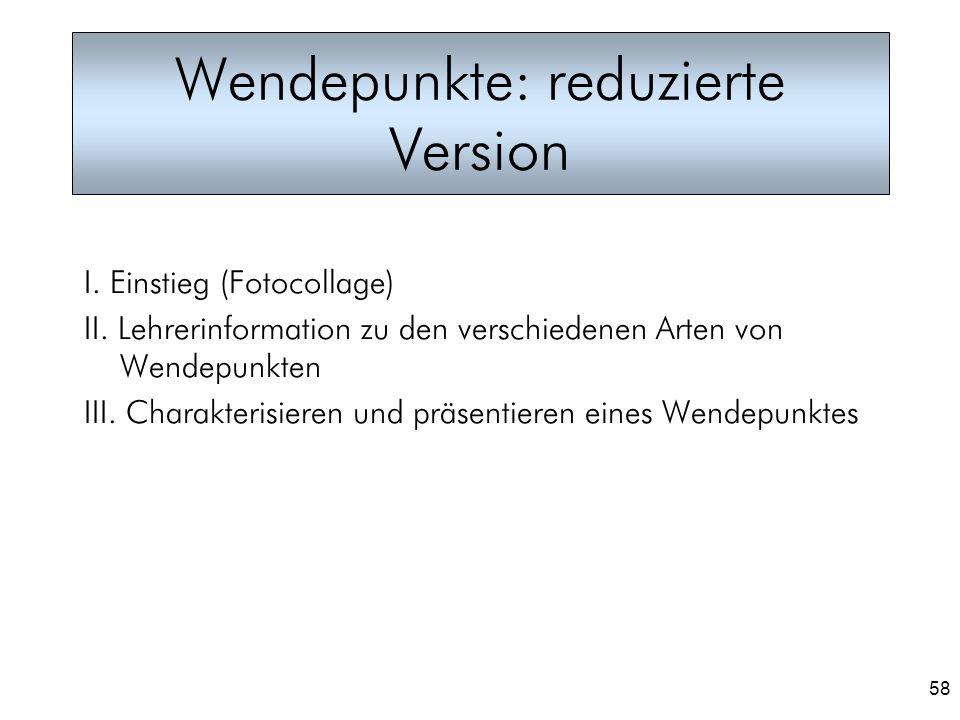 58 Wendepunkte: reduzierte Version I. Einstieg (Fotocollage) II. Lehrerinformation zu den verschiedenen Arten von Wendepunkten III. Charakterisieren u
