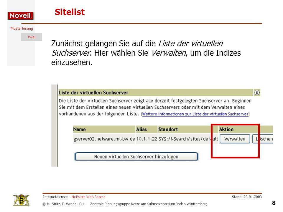 © M. Stütz, F. Wrede LEU - Zentrale Planungsgruppe Netze am Kultusministerium Baden-Württemberg Musterlösung zwei Stand: 29.01.2003 8 Internetdienste