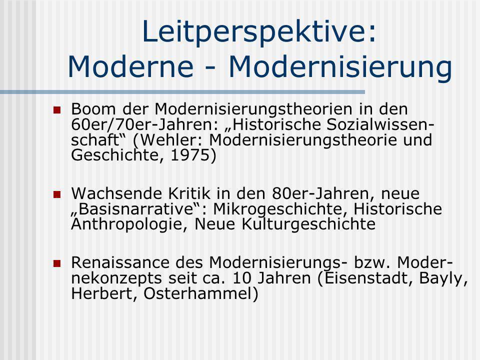 Leitperspektive: Moderne - Modernisierung Boom der Modernisierungstheorien in den 60er/70er-Jahren: Historische Sozialwissen- schaft (Wehler: Modernis