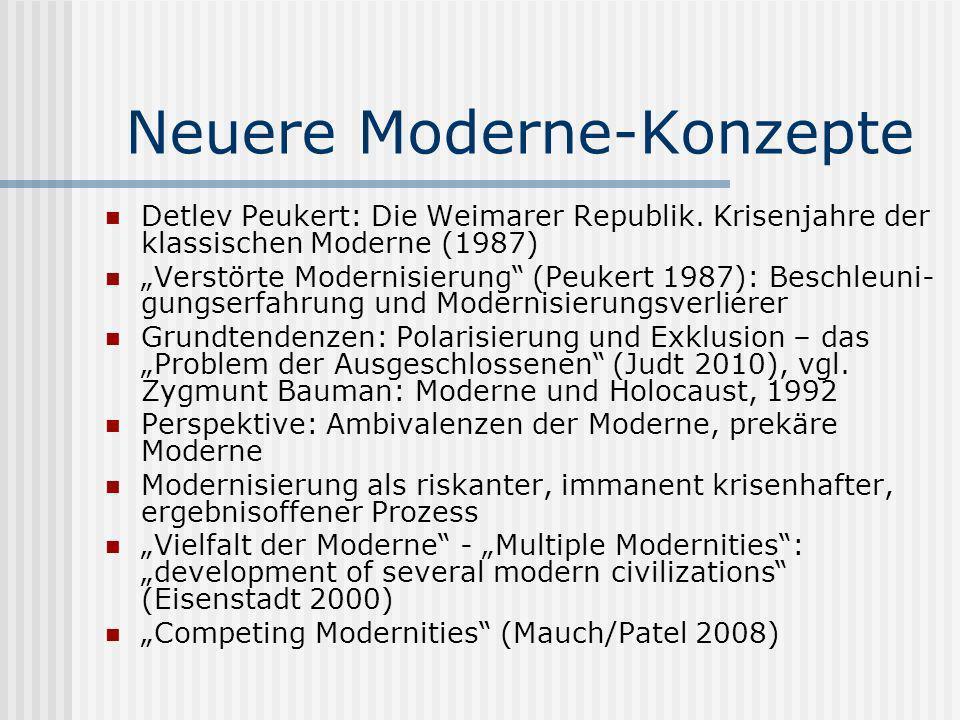 Neuere Moderne-Konzepte Detlev Peukert: Die Weimarer Republik. Krisenjahre der klassischen Moderne (1987) Verstörte Modernisierung (Peukert 1987): Bes