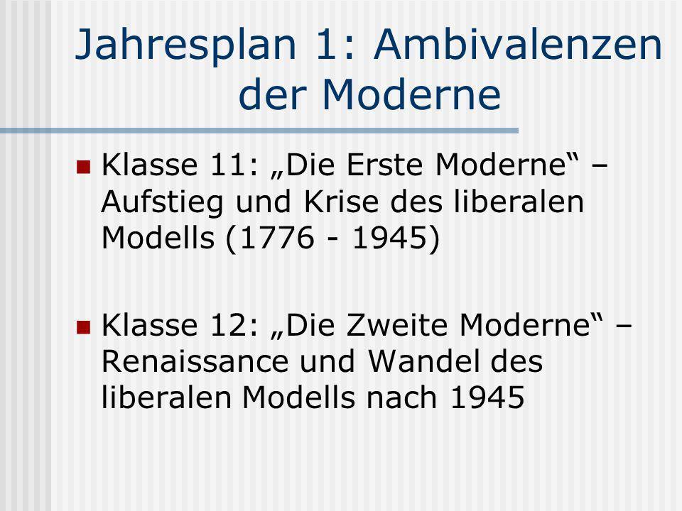 Jahresplan 1: Ambivalenzen der Moderne Klasse 11: Die Erste Moderne – Aufstieg und Krise des liberalen Modells (1776 - 1945) Klasse 12: Die Zweite Mod