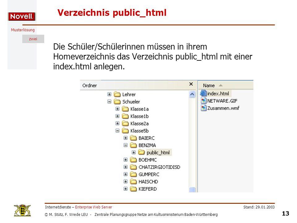 © M. Stütz, F. Wrede LEU - Zentrale Planungsgruppe Netze am Kultusministerium Baden-Württemberg Musterlösung zwei Stand: 29.01.2003 13 Internetdienste